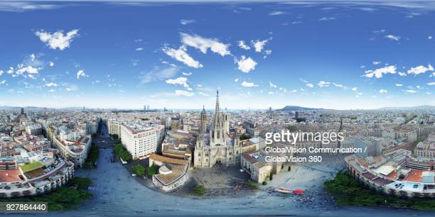 360-degree Aerial View of Barcelona Cathedral in Barcelona, Spain