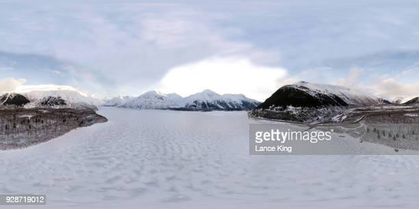 360-degree aerial view over portage lake - alaska - lance king stock photos and pictures