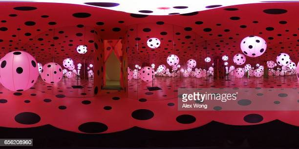 A 360degree internal view of the art piece Dots Obsession Love Transformed into Dots by Japanese artist Yayoi Kusama is seen at the Hirshhorn Museum...