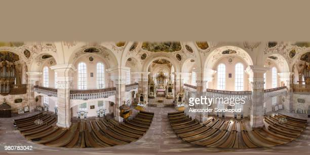 360-degree panoramic aerial view from drone to ebersmunster church interion. alsace, france - 全天周パノラマ ストックフォトと画像