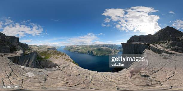 360-degree panoramic view of Preikestolen Pulpit Rock and Lysefjorden, Forsand, Rogaland, Norway