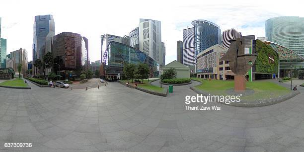 360-degree panoramic view of raffles place, singapore - 360 degree view photos et images de collection