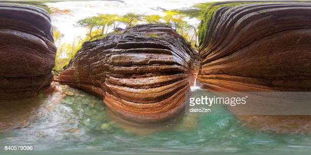360-degree panoramic view of the Taugl river flowing through a narrow red canyon with small waterfall, Hallein, Salzburg, Austria, Europe