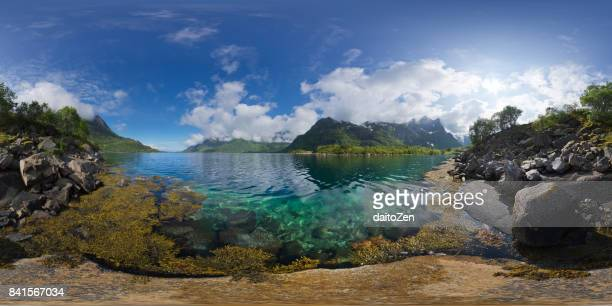 360-degree scenic view of fjord landscape on Austvagoya island, Lofoten Islands, Norway