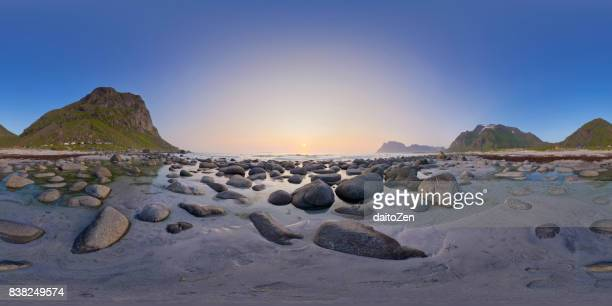 360-degree spherical panorama of Uttakleiv Beach illuminated by the Midnight Sun in July, Vestvagoy, Lofoten Islands, Norway