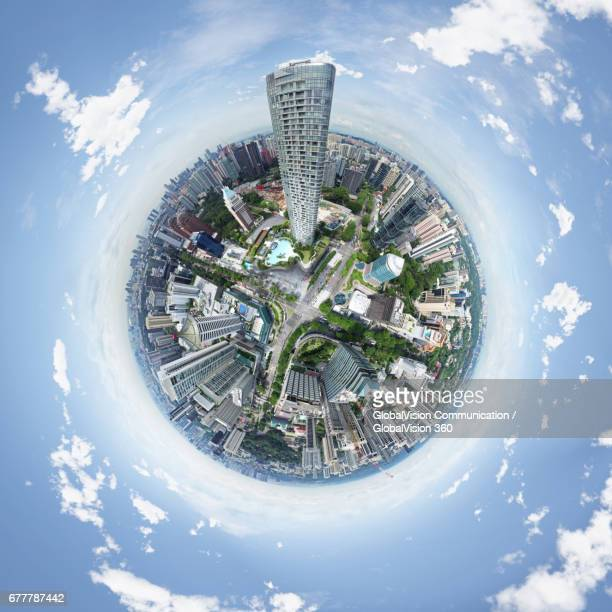 360-degree view above ion orchard, singapore - little planet format stock photos and pictures