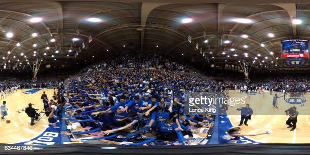 A 360degree view as the Cameron Crazies and fans of the Duke Blue Devils taunt players of the North Carolina Tar Heels at Cameron Indoor Stadium on...