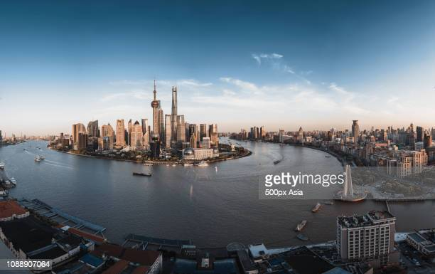 360-degree view of city skyline, shanghai, china - image stockfoto's en -beelden