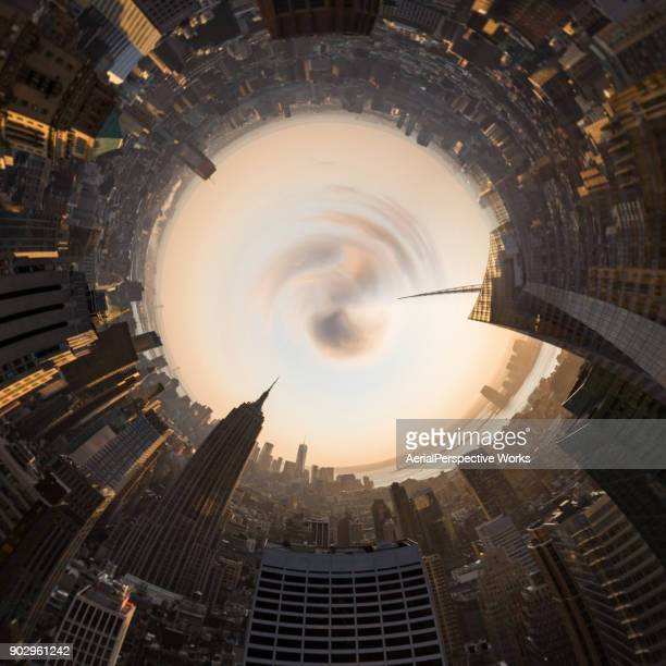 360-degree view of modern buildings at manhattan - 360 degree view stock pictures, royalty-free photos & images