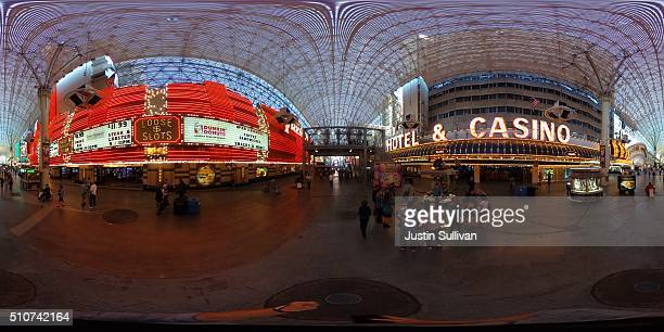 Degree view of the Fremont Street Experience and SlotZilla zip line attraction on February 16, 2016 in Las Vegas, United States.