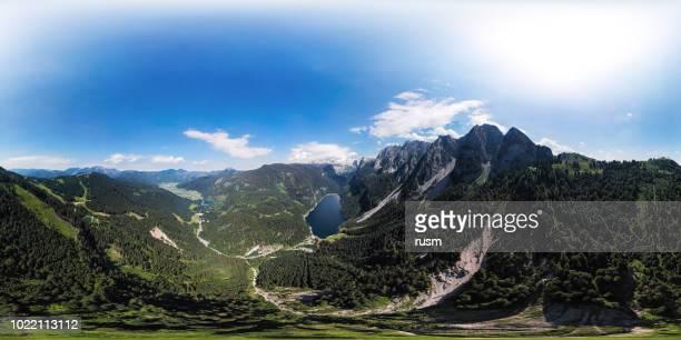 360x180 degree full spherical (equirectangular) aerial panorama of gosaukamm and dachstein massif, gosau lake in salzkammergut, upper austria - panoramica a 360 gradi foto e immagini stock