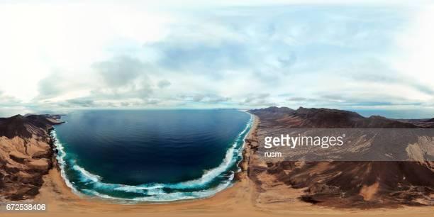 360x180 degree full spherical (equirectangular) panorama of Playa de Barlovento beach, Fuerteventura, Canary Islands