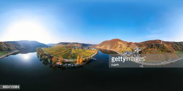 360x180 degree spherical (equirectangular) aerial panorama of mosel valley vineyards near beilstein resort at autumn, rhineland-palatinate, germany - moselle france stock pictures, royalty-free photos & images