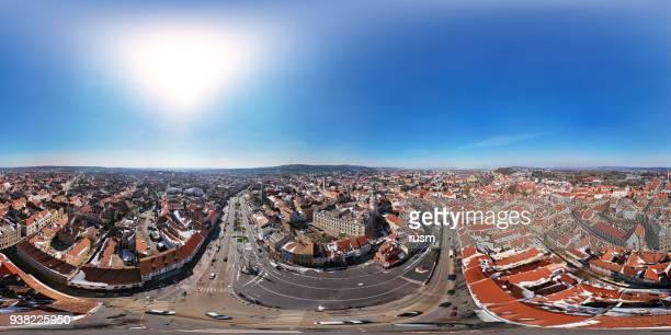 古い町ショプロン、ハンガリーの 360 x 180 度球面空中パノラマ - 全天周パノラマ ストックフォトと画像