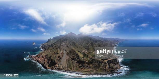 360x180 degree spherical (equirectangular) aerial panorama of remote benijo beach (playa de benijo) and roques de anaga, tenerife, canary islands, spain. - equirectangular panorama stock pictures, royalty-free photos & images