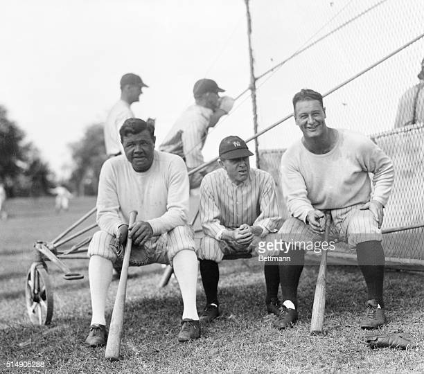 3/6/1929St Petersburg Florida Babe Ruth Miller Huggins and Lou Gehrig the big three of the New York Yankees as they appeared at spring training camp...