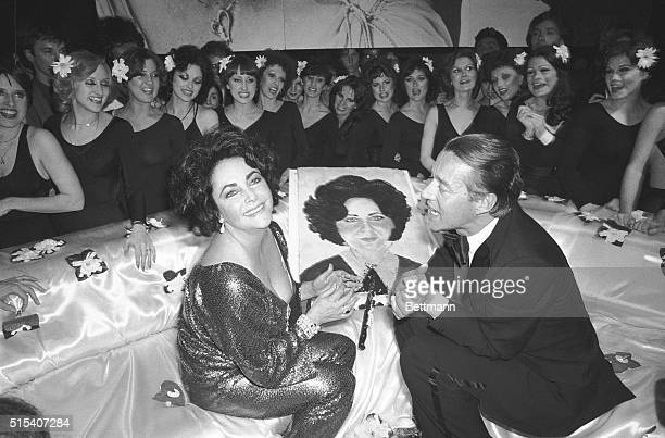 New York, NY- A radiant Elizabeth Taylor celebrates her recent 46th birthday at a Studio 54 party with designer Halston. The actress also celebrated...