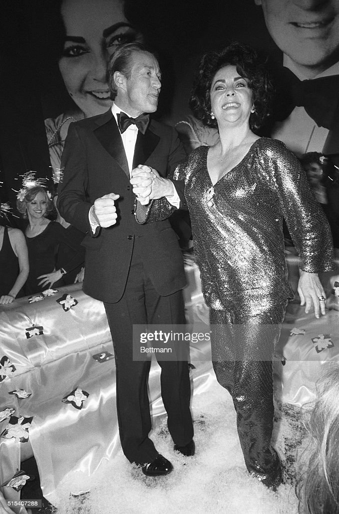 New York, NY- A radiant Elizabeth Taylor celebrates her recent 46th birthday at a Studio 54 party with designer Halston. The actress also celebrated the opening night of the film version of 'A Little Night Music,' in which she stars. ph/E. Petersen.
