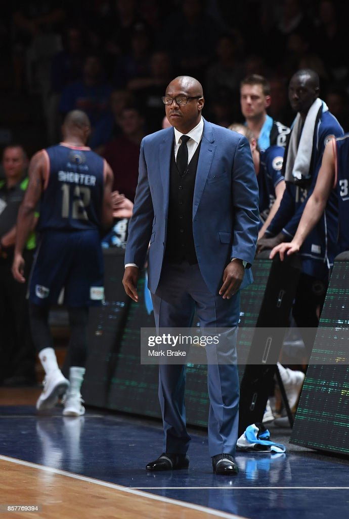 36ers coach Joey Wright during the round one NBL match between the Adelaide 36ers and Melbourne UInited at Titanium Security Arena on October 5, 2017 in Adelaide, Australia.