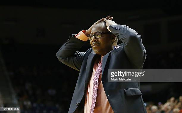 36ers coach Joey Wright reacts to a decision during the round 17 NBL match between the Illawarra Hawks and the Adelaide 36ers at WIN Entertainment...