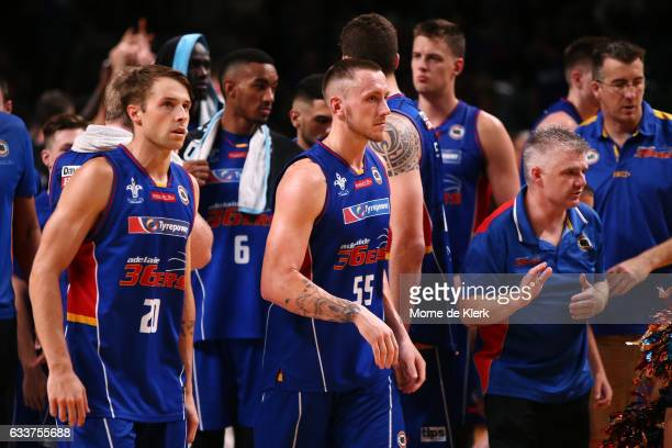 36ers players look on after losing the round 18 NBL match between the Adelaide 36ers and the New Zealand Breakers at Titanium Security Arena on...
