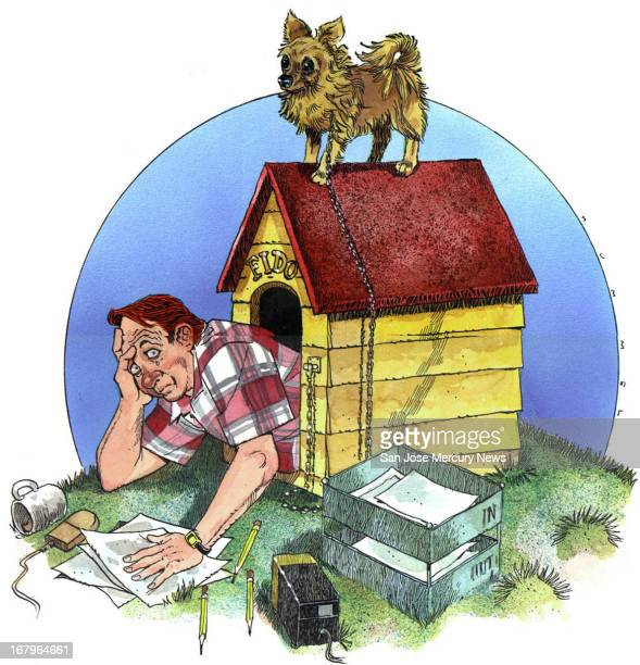 36p x 37p Jim Hummel color illustration of an office worker crowding in a doghouse with a dog perched atop; paperwork, office supplies surround.