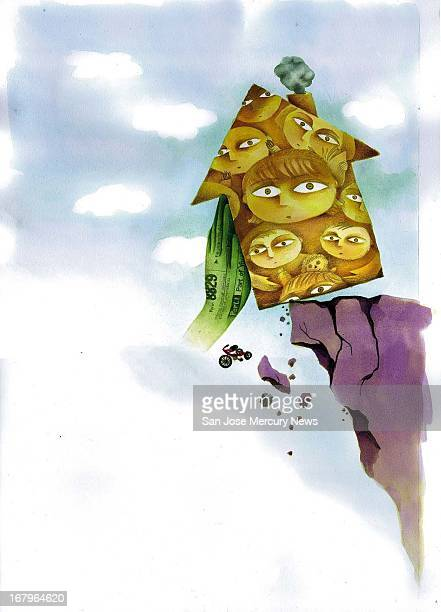 36p x 50p color illustration of a hand wrapped with a tax form holding a house of hildren from falling off the edge of a cliff