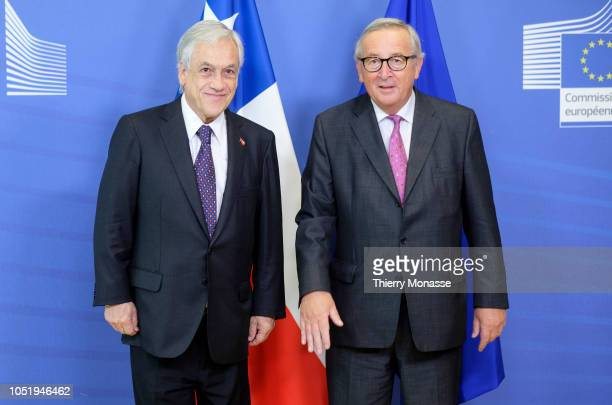 36th President of Chile Sebastian Pinera is welcomed by the President of the EU Commission Jean-Claude Juncker prior to a bilateral meeting in the...