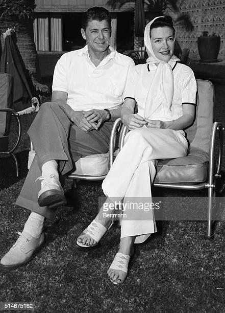 Actor Ronald Reagan and his bride film star Nancy Davis enjoy a warm sunny day while honeymooning at the Arizona Biltmore Hotel in Phoenix