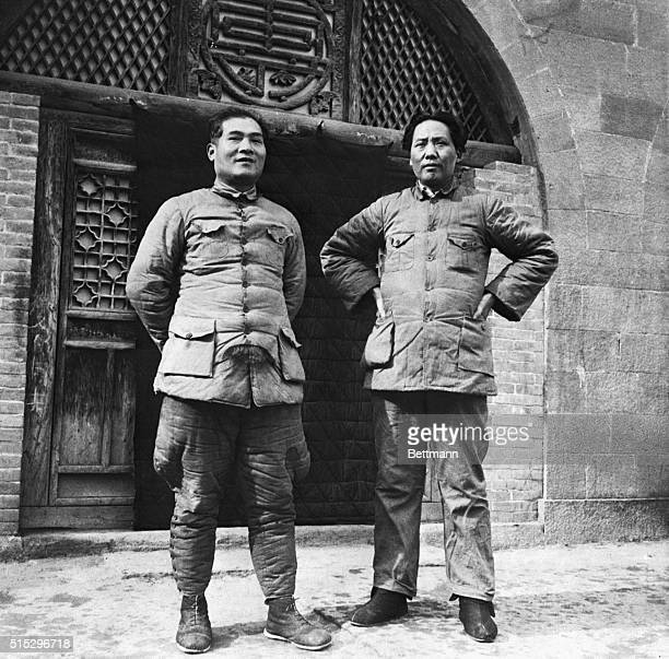 3/7/38Yenana North Shensi Province ChinaChina's Stalin Gen Mao TseTung and his comrade Pres Chang KuoTao of the new 'frontier government' pose...
