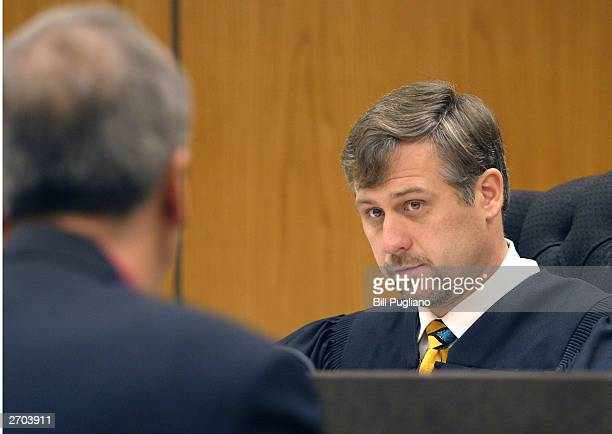 37th District Court Judge John Chmura listens as the prosecuting attorney in the Kimberley Mathers drug case requests that a bench warrant be issued...