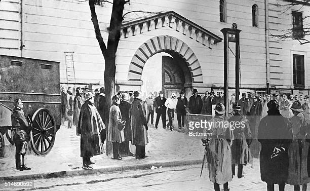 3/8/1922Versailles France Henri Landru French Bluebeard is led to the guillotine in the Prison Square This is the first time in history that such an...