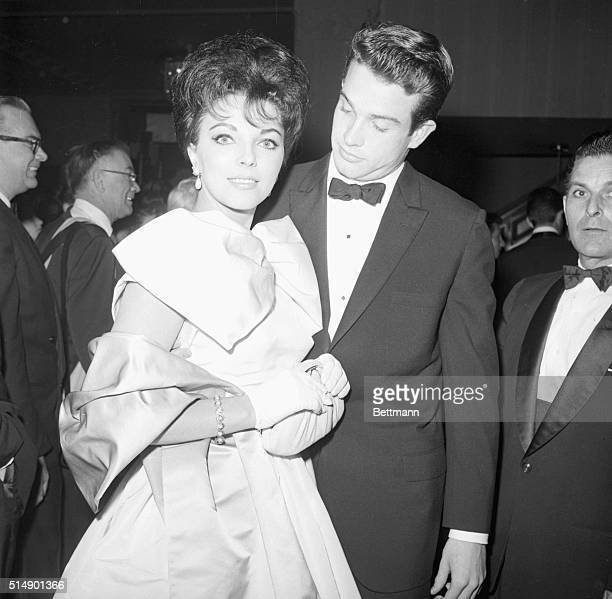 3/8/1960Beverly Hills California Joan Collins and Warren Beatty as they attended the Golden Awards dinner at the Coconut Grove in Beverly Hills