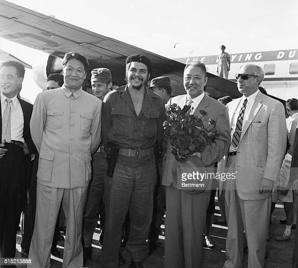 3/8/1961Havana Cuba Industry Minister Ernesto Che Guevara welcomes the Chinese delegation on their arrival here March 8 for the start of the...