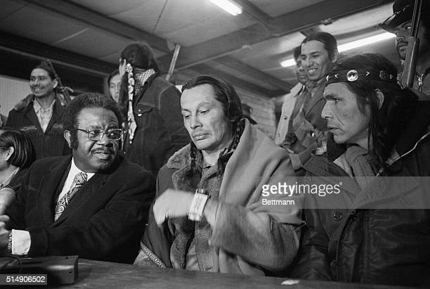 Wounded Knee, SD: Rev. Ralph Abernathy confers with leaders of the American Indian Movement, Russell Means and Dennis Banks, at Wounded Knee, SD, on...