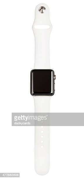 APPLE WATCH 38mm Stainless Steel White Sport Band Clipping Path