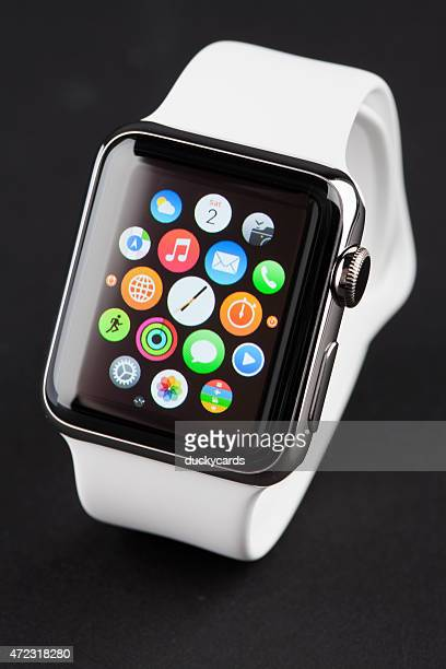 APPLE WATCH 38mm Stainless Steel with White Sport Band
