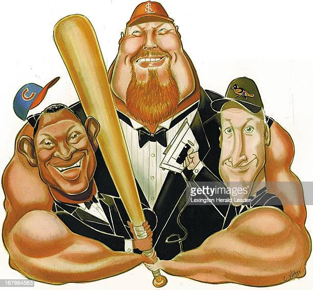38p x 35p Camille Weber color illustration of baseball player Mark McGwire with his gigantic arms embracing a smaller Sammy Sosa and Cal Ripkin