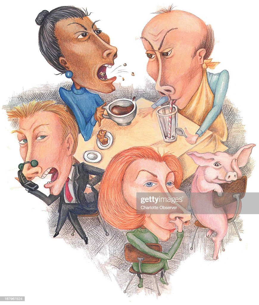 38p x 45p Brenda Pinnell color illustration of people with bad table manners.