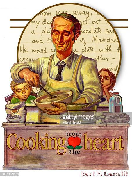 """38p x 51p Earl F. Lam III color illustration of """"Norman Rockwell""""-type dad mixing batter in kitchen while children wait in background; """"Cooking from..."""