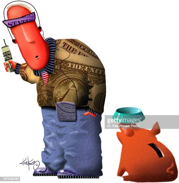 39p x 40p Kirk Lyttle color illustration of teen with baggy jeans whose jacket shoes sunglasses and walkman are made from money A piggy bank...