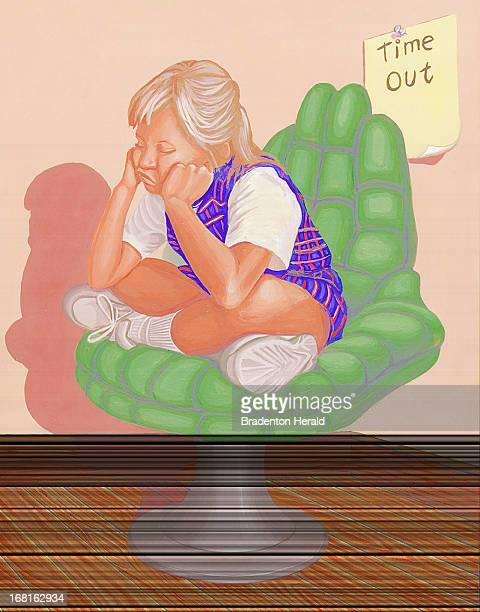 39p x 49p Ed Hashey color illustration of little girl sitting in 'time out' chair