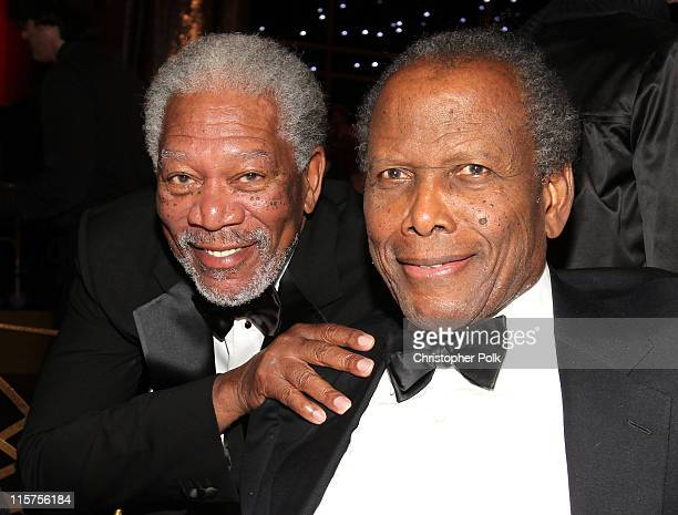 39th Life Achievement Award recipient Morgan Freeman and actor Sidney Poitier in the audience at the 39th AFI Life Achievement Award honoring Morgan...