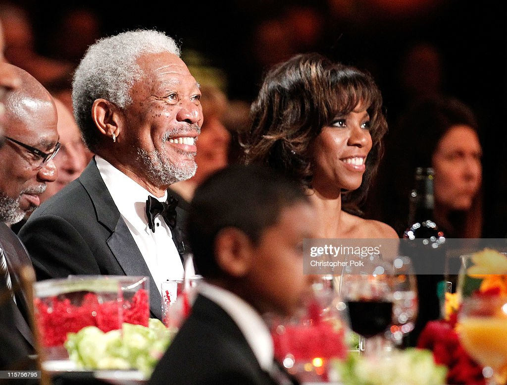 39th Life Achievement Award recipient Morgan Freeman (L) and daughter Morgana Freeman in the audience at the 39th AFI Life Achievement Award honoring Morgan Freeman held at Sony Pictures Studios on June 9, 2011 in Culver City, California. The AFI Life Achievement Award tribute to Morgan Freeman will premiere on TV Land on Saturday, June 19 at 9PM