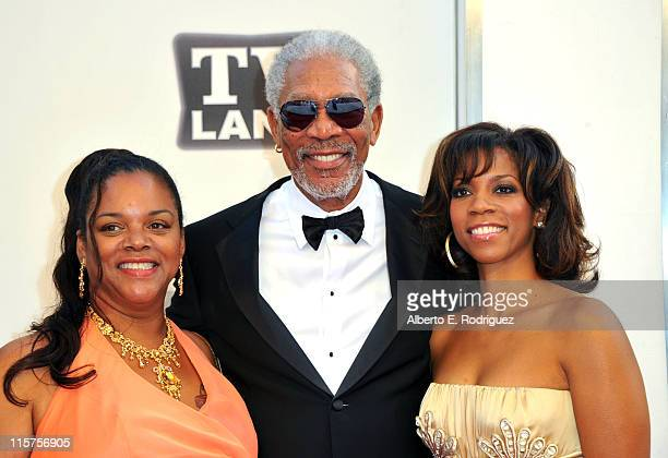 39th Life Achievement Award recipient Morgan Freeman and daughters Morgana Freeman and Alexis Freeman arrive at the 39th AFI Life Achievement Award...