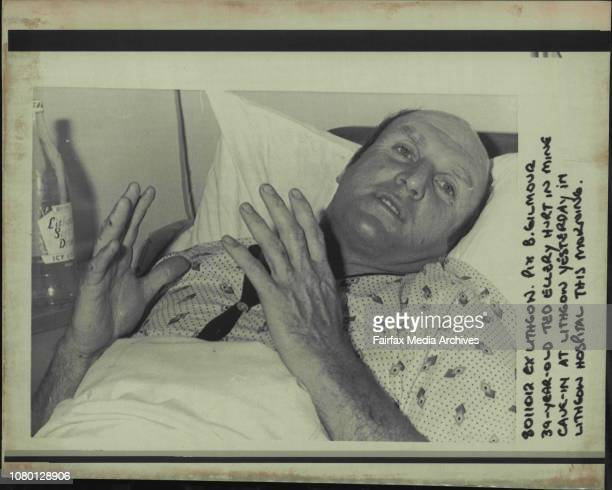 39yearold Ted Ellery Hurt in Mine Cavein at Lithgow yesterday in Lithgow Hospital this Morning November 12 1980