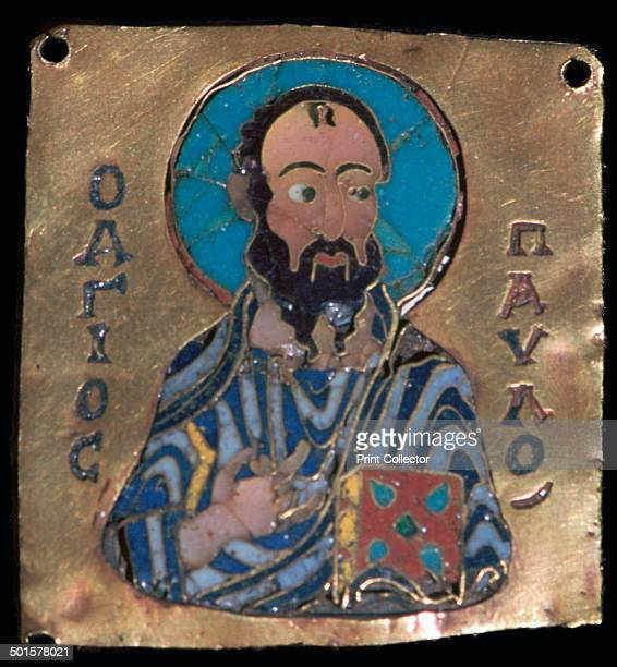 3cm x 3cm depiction of St Paul in cloisonne enamel on gold from the VA's collection 10th century