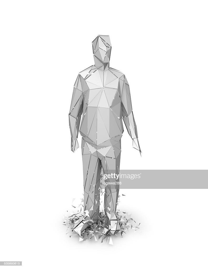3d abstract geometric person chattered, stress and fear idea illustration. : Stockfoto