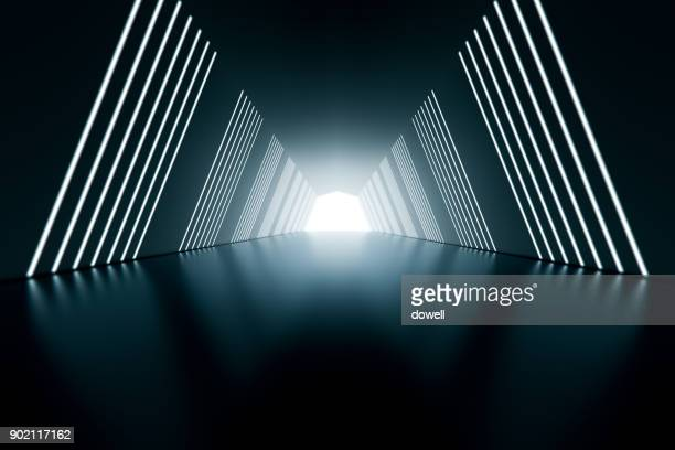3d abstract tunnel - licht stock-fotos und bilder