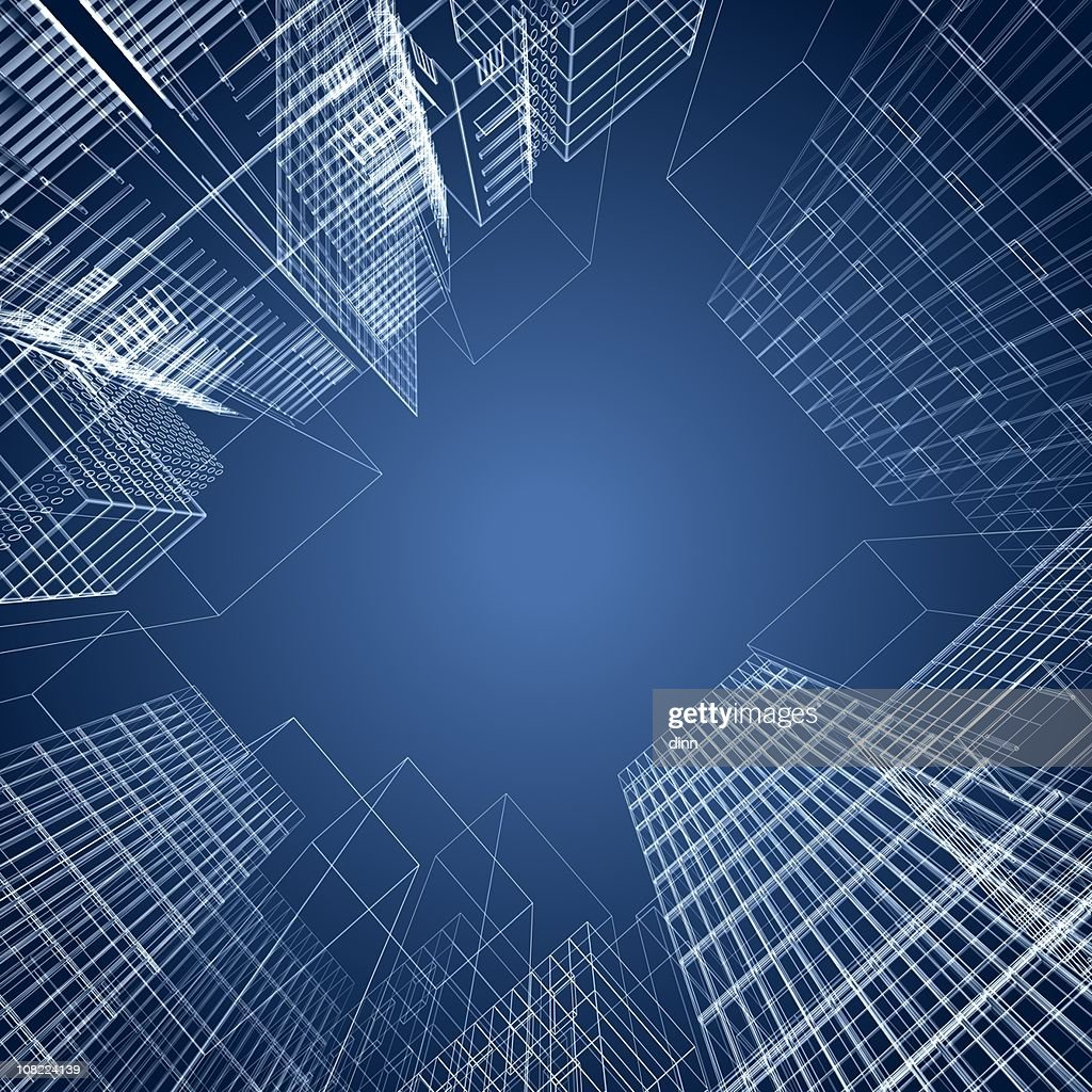 3d architectural square of wireframe buildings : Stockfoto